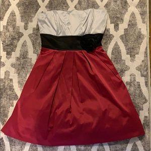 Satin Colorblock short formal sleeveless dress